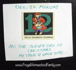Twelve days of Christmas coupon www.FrugalHomeschoolFamily.com