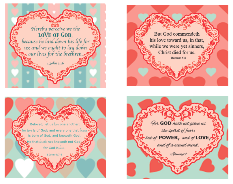 God's Love Scripture Cards www.ParadisePraises.com