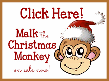 Melk the Christmas Monkey  www.ParadisePraises.com