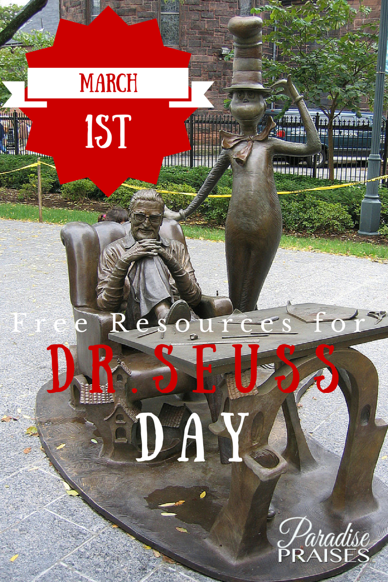 Free Homeschool Resources for Dr. Seuss Day, March 1st via ParadisePraises.com