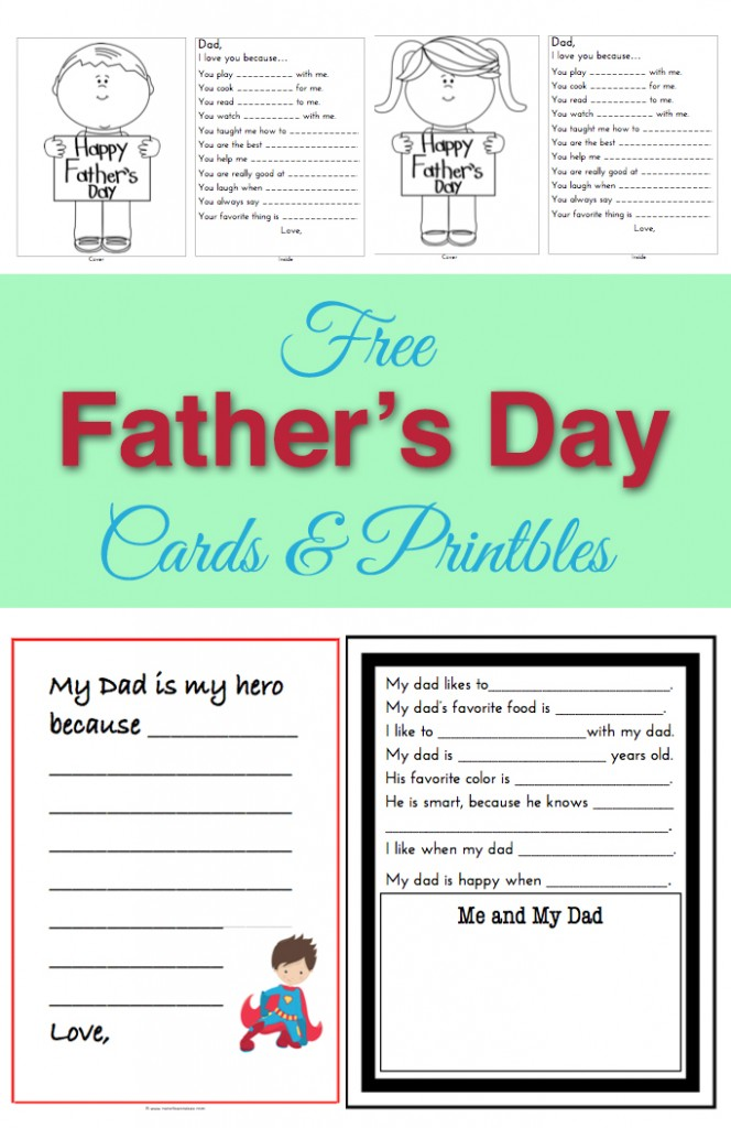 Free Father's Day Card template, June calendar and other printables at ParadisePraises.com