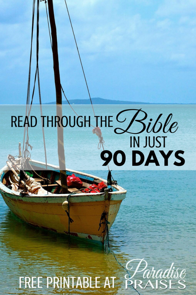 Read through the Bible in 90 days with this free printable chart by ParadisePraises.com