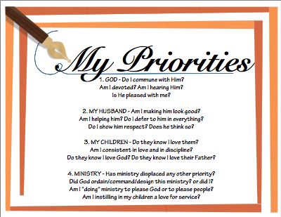 Priorities free printable at paradisepraises.com