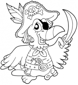 Free Pirate Coloring Book Pirate Parrot Coloring Pages
