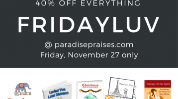 FridayLuv Pinnable for Black Friday sale at Paradise Praises 40% off everything, one day only.