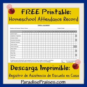 Free Homeschool Attendance Record printable from www.ParadisePraises.com