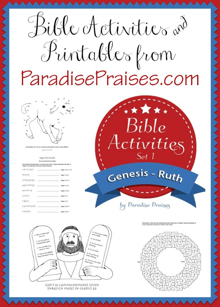Bible Set 1 Genesis-Ruth Printable Activities for Kids www.paradisepraises.com
