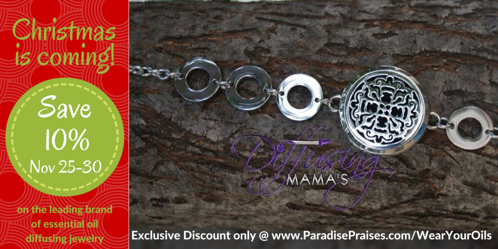 exclusive discount for diffusing mama's essential oil jewelry at ParadisePraises.com