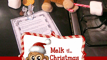 Need some help with posing Melk? Melk the Christmas Monkey poses, photos and ideas at ParadisePriases.com