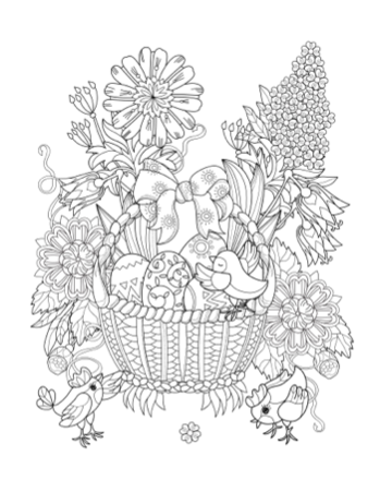 Printable Adult Coloring Page - Easter Basket | Paradise Praises
