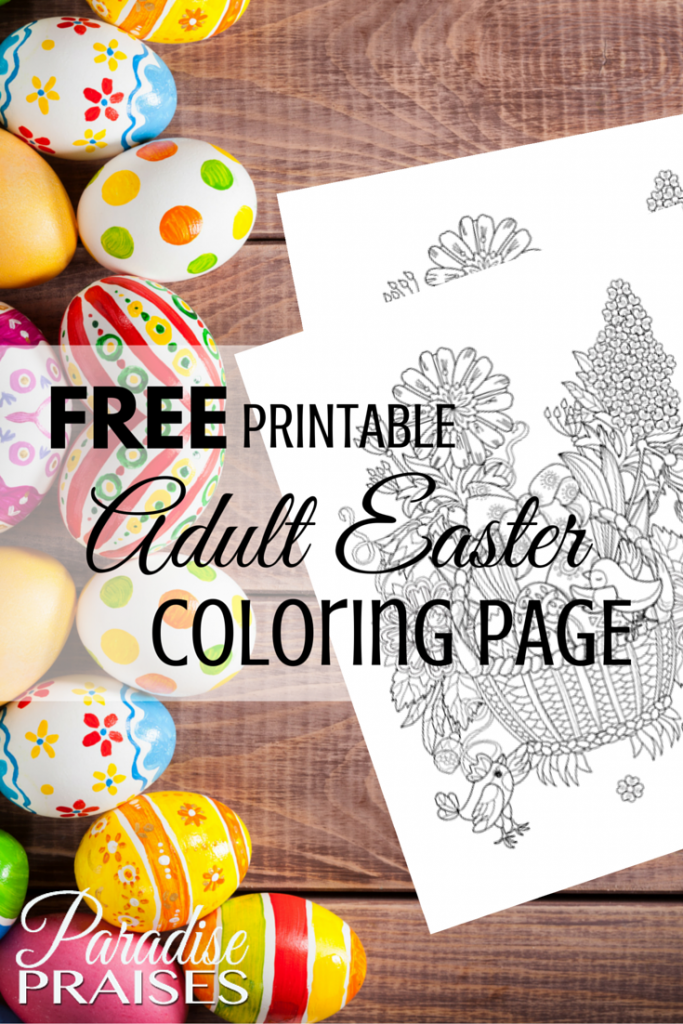 Free printable Adult Coloring Page - Easter via ParadisePraises.com