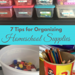 7 Tips for Keeping Homeschool Supplies Organizes via ParadisePraises.com