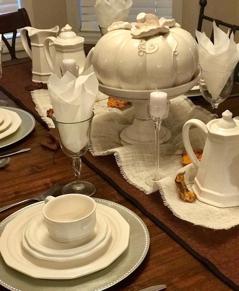 Inspired Autumn Table white pumpkin paradisepraises.com
